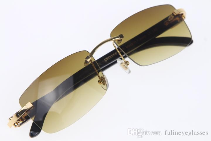 Wholesale Rimless Unisex Black Genuine horn Buffalo horn Rimless 8200757 Sunglasses woman's Glasses with box Brown Frame Size: 56-18-140mm