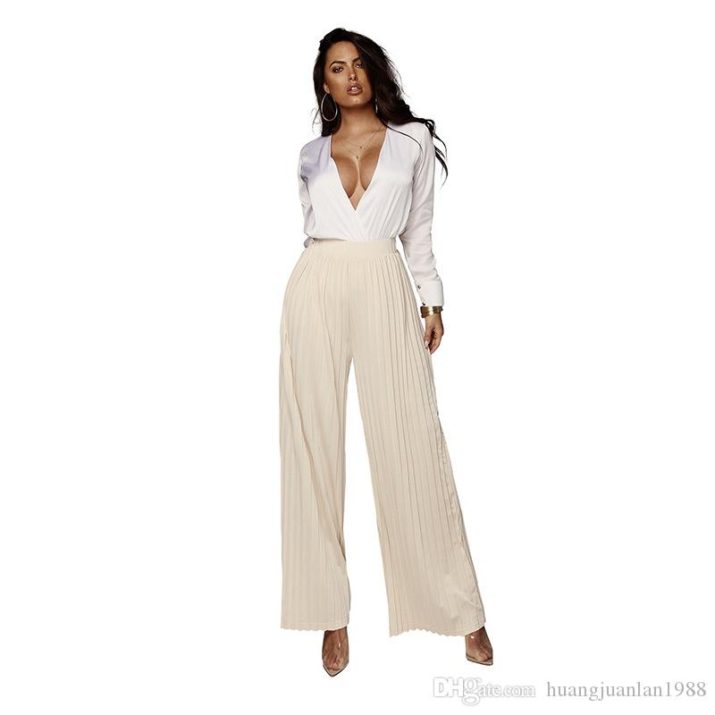 2019 spring and summer new sexy chiffon pleated solid color straight trousers high waist loose wide leg pants female