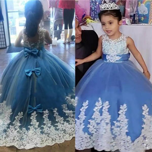 Bleu clair robes fille fleur robe de bal Big Appliques bowknot Retour Jewel ronde manches longues Birthday Party filles Porter