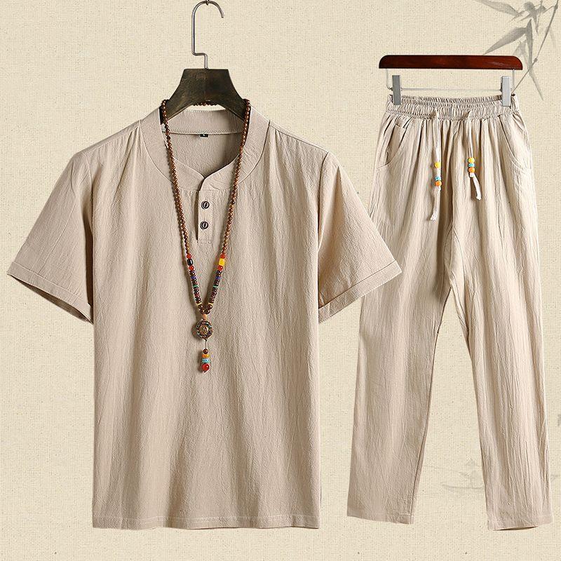 2020 New Men Summer Set Hommes Pantalons + T-shirt manches Pantalons simple Taille Plus 5XL Homme T-shirt décontracté Vêtements pour hommes
