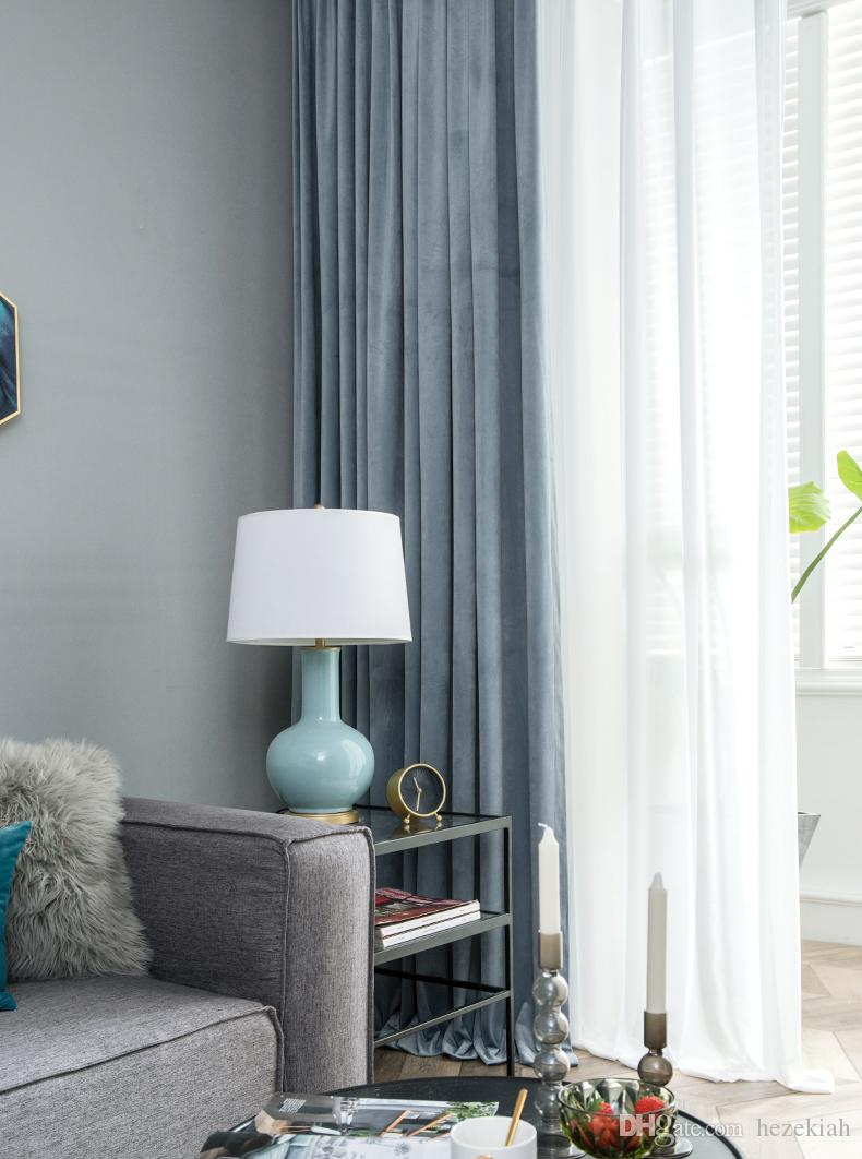 2019 Blackout Curtain Finished Simple Modern Thick Velvet Velvet Cloth Nordic American Living Room Bedroom Light Gray Blue From Hezekiah 66 34