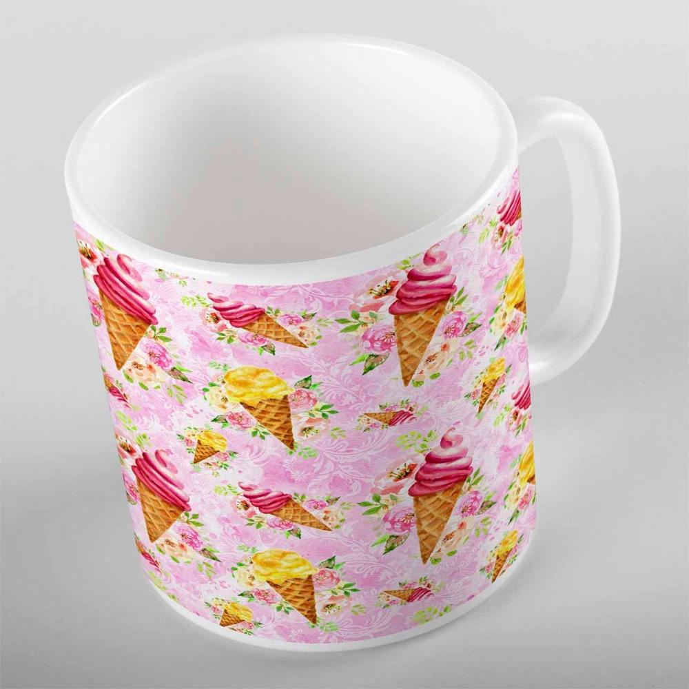 Rose au sol jaune crème glacée Brown bonbons bonbons roses 3d cadeau d'impression en céramique eau potable ours tasse de café tasse cuisine