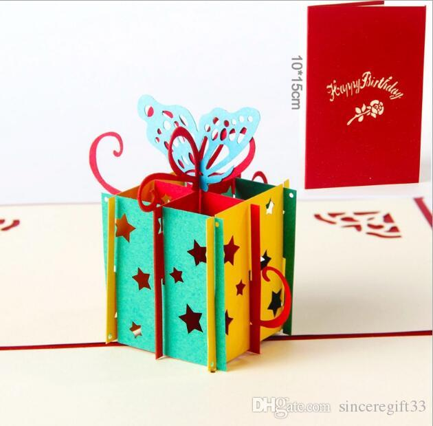 3D cards gift boxes shape Stars Theme colorful 3D cardboard toys Creative birthday card 3d cartoon stereo gift card for kids
