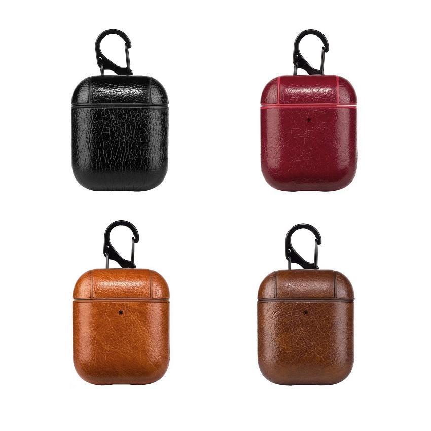 상자 케이스를 충전 새로운 럭셔리 가방 애플 AirPods 블루투스 무선 이어폰 가죽 케이스 커버를 들어 에어 포드 1 2 Funda 커버