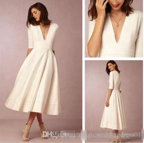 Summer 2019 Tea-length Cheap Wedding Dresses Ivory Satin Deep V Neck 3/4 Long Sleeve Short Bohemian Beach Bridal Gowns Vestidos de Novia