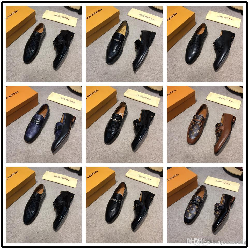 Newst Handmade Leather Men Dress Shoes Evening Party Wedding Shoes Daily Office Suit Shoes Cow Suede Chaussures Hommes Big Size 45