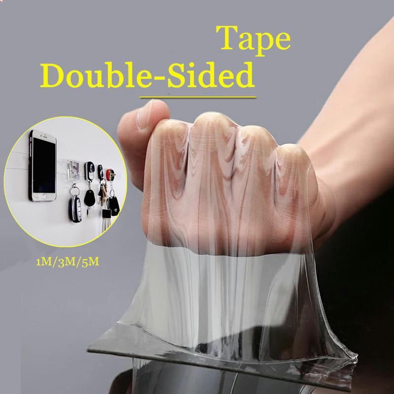 1M / 3M / 5M شريط مزدوج الشريط قابل للغسل إعادة استخدام الشريط السحري نانو شفاف لا تتبع لاصق للماء واضحة