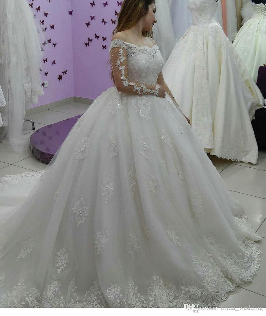 2019 جودة عالية جديد العربية دبي الأميرة فستان الزفاف طويلة الأكمام الدانتيل يزين الكنيسة العروس ثوب الزفاف الرسمي زائد الحجم مخصص