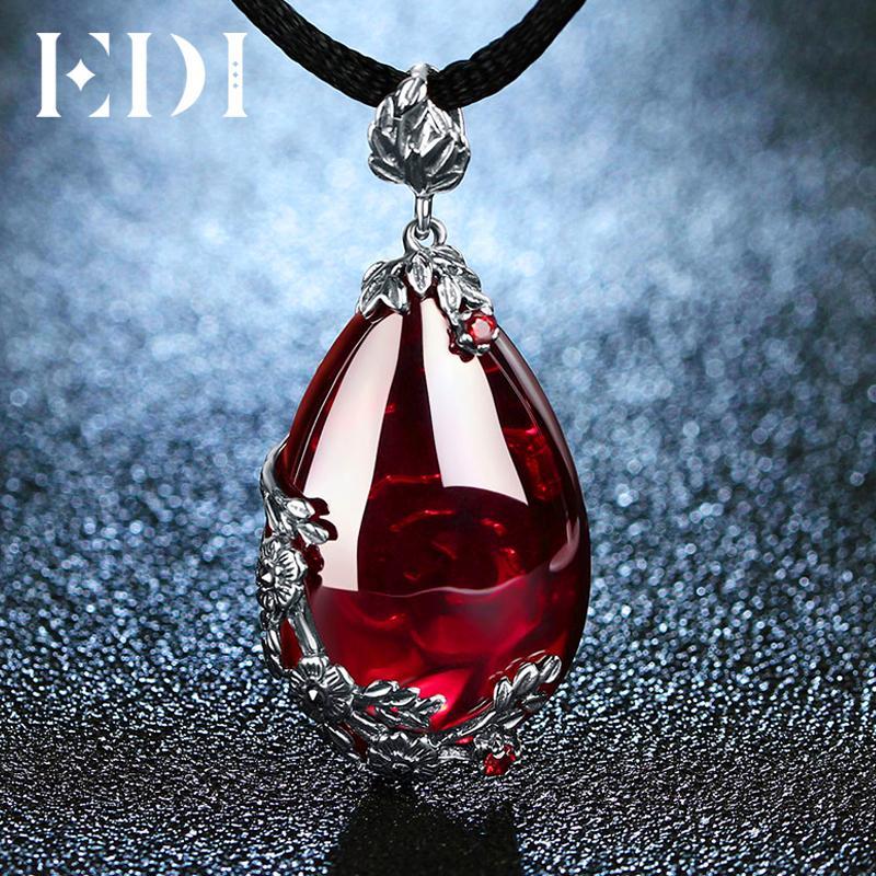 Edi Retro Royal Granat Edelstein 100% 925 Sterling Silber Natürliche Chalcedon Anhänger Halskette Weiblichen Edlen Schmuck C19041201
