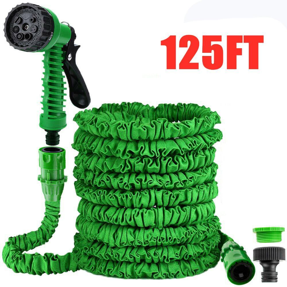 50//75FT Long Retractable Expandable Magic Garden Hose Pipe 7 Function Spray Gun