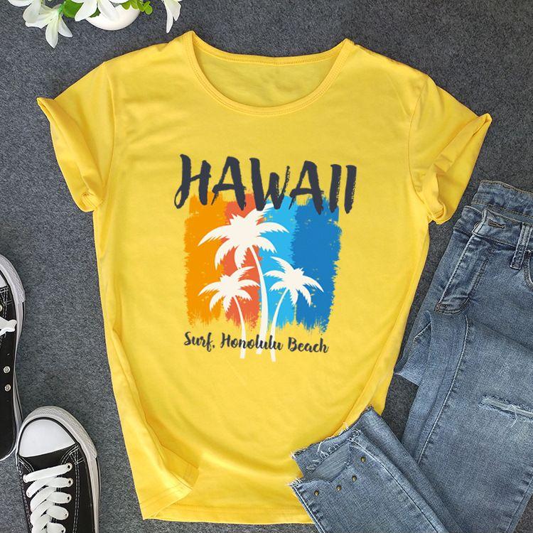 Baumwoll-T-Shirt für Damen HAWAII Brief Druckmuster Weibliche Kurzärmlig Lässige T Shirts Top