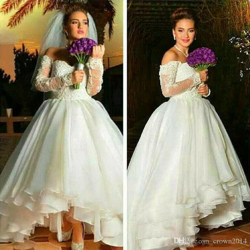 2020 Vintage High Low Wedding Dress Off the Shoulder Lace Beaded Sequins Ruffles Organza Lace-up Back Long Sleeve Bridal Ball Gown Custom