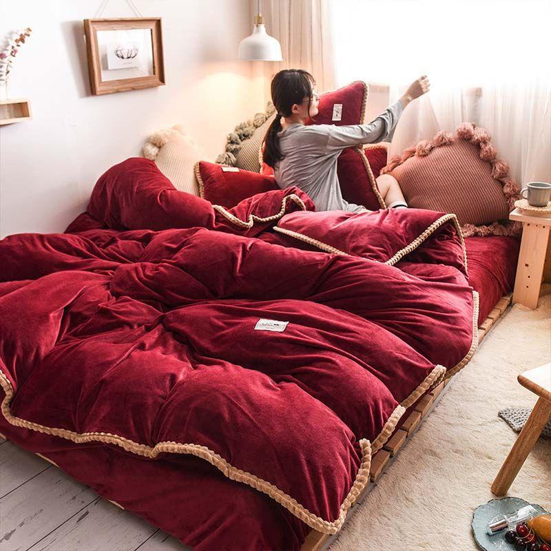 FB1909005 Warm Solid Color Bedding Set Fannel Bed Linen Luxurious Bed Sheet Velvet Duvet Cover Set 4pcs/set