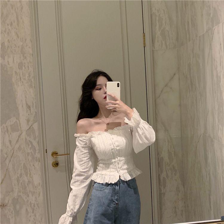 Retro Style Shoulder Short Chiffon Shirt Top Women 2020 Spring Hong Kong Style New Long Sleeve White Shirt