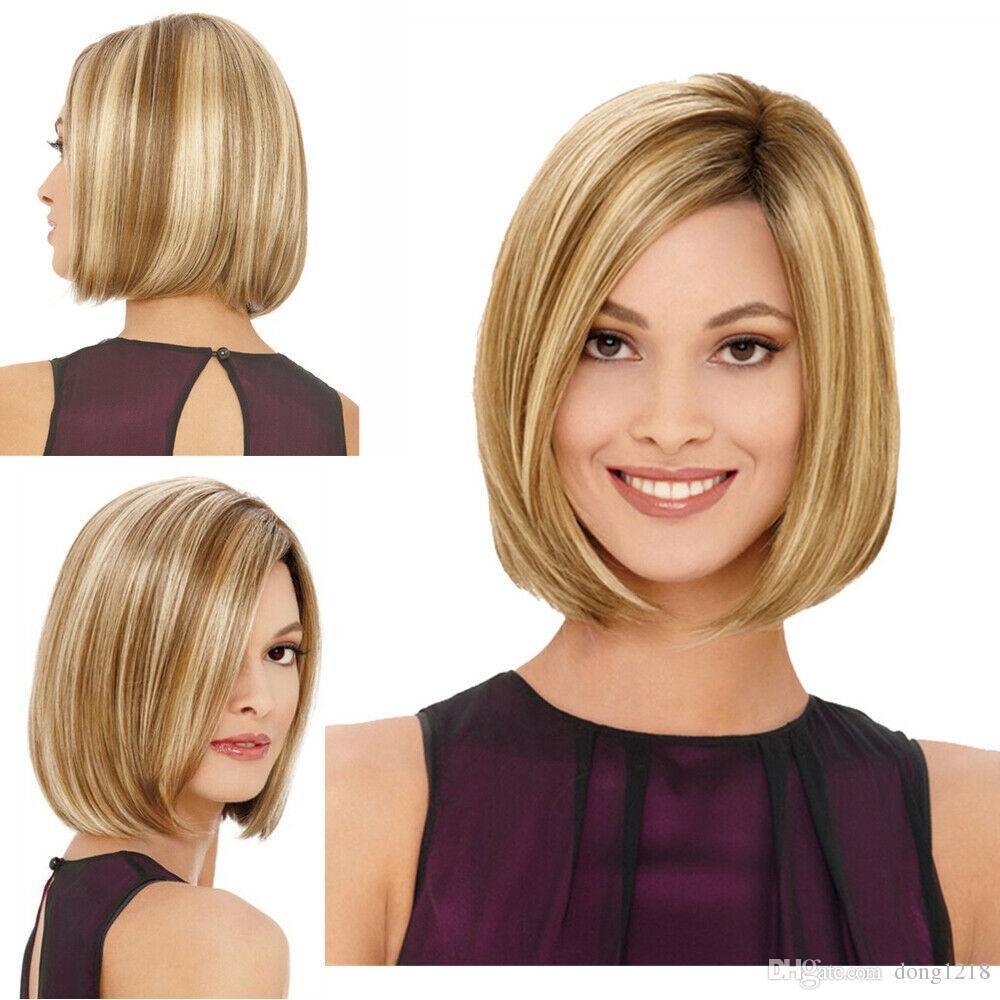 Synthétique synthétique courte perruque droite cheveux blonds cosplay perruque de fête journalière cheveux naturels