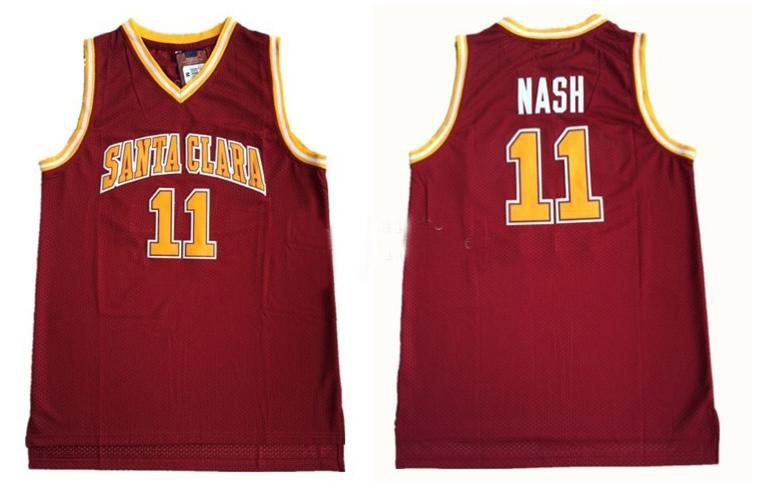 NCAA Mens Steve Nash Santa Clara Bronchos College Basketball Jerseys Mens 11 Steve Nash University 스티치 농구 유니폼 셔츠