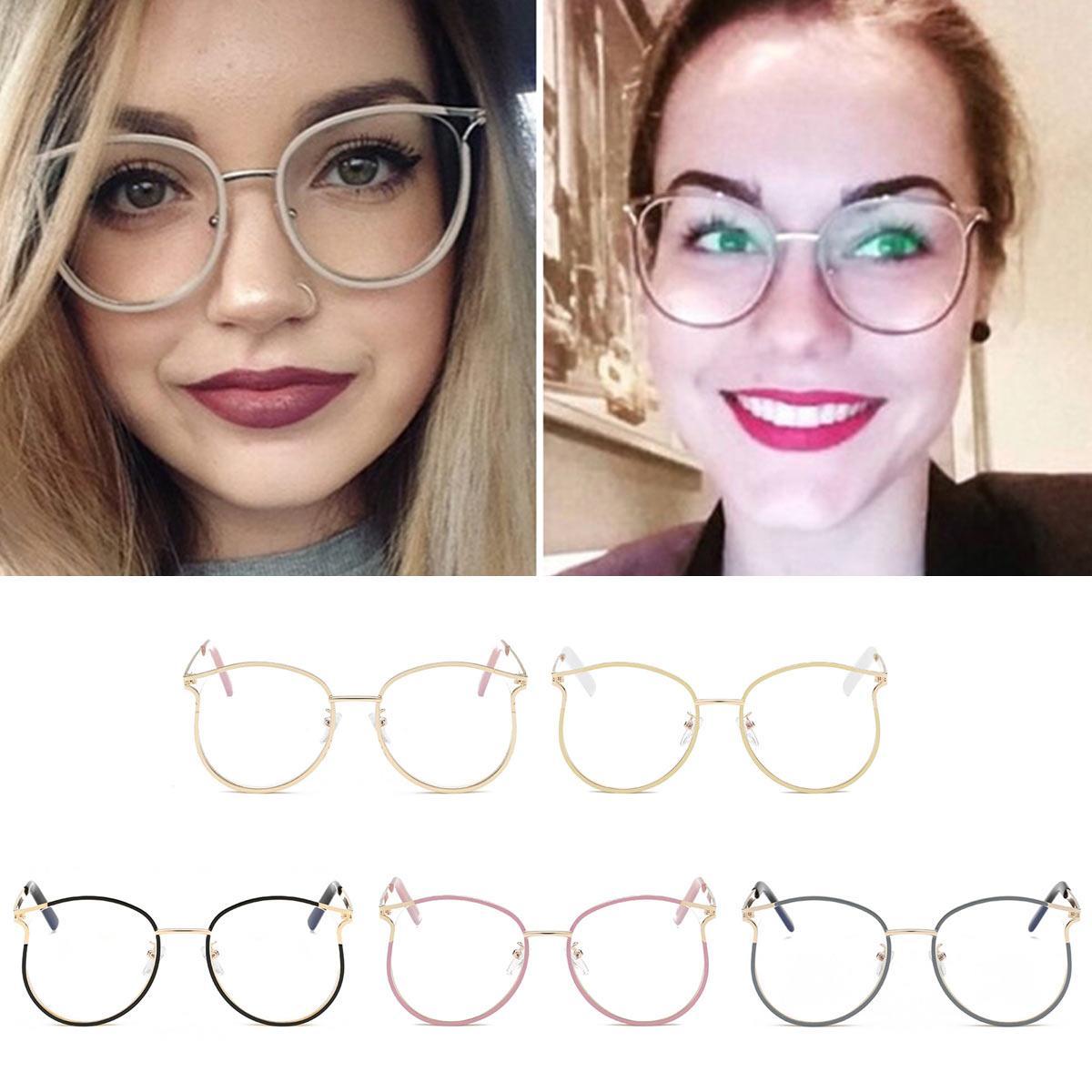 CanChange Trendy femmes ronde de style lunettes de mode Lunettes métalFrame Femmes Hommes Lunettes objectif clair oculos de sol