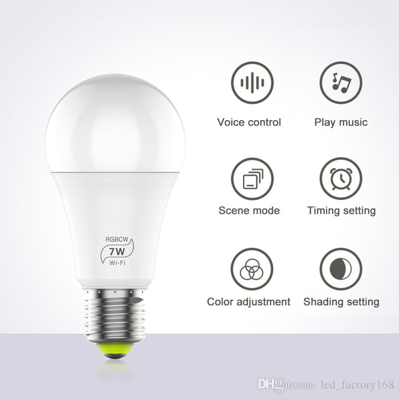 Pack sell RGBW Smart WIFI Led Light Bulb 7W E27 Smart Home Bluetooth Lamp Color Compatible with Alexa google Home
