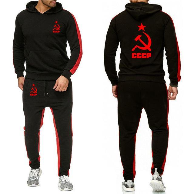 Mens Hoodies sweatshirt Unique for CCCP Russian Soviet Union Printed Sporting suit sportwear Hoodie+Pants 2PcsS