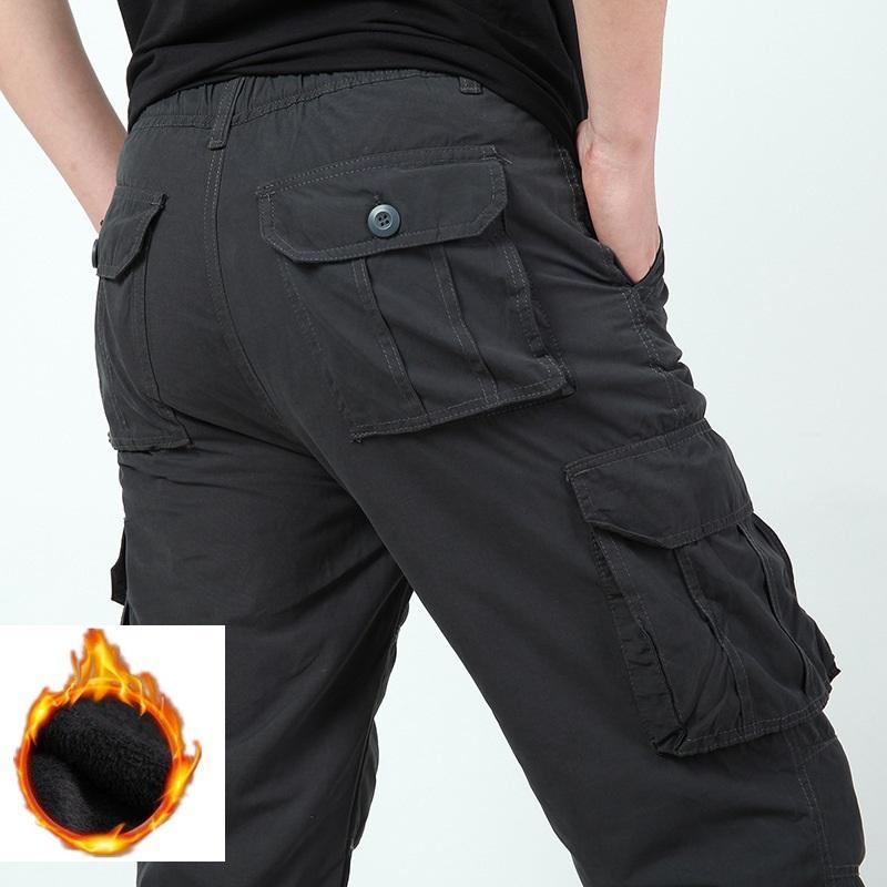 2020 lã quente Carga inverno calças casuais solta Multi-bolso de calças dos homens Roupa Exército Verde Cinzento Calças Man
