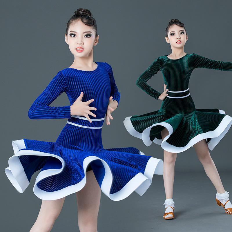 Velvet Dance Competition Latin vestido Crianças vestidos Tango Salsa Rumba Cha Cha Samba Clothes Meninas Desempenho DN4476 Wear