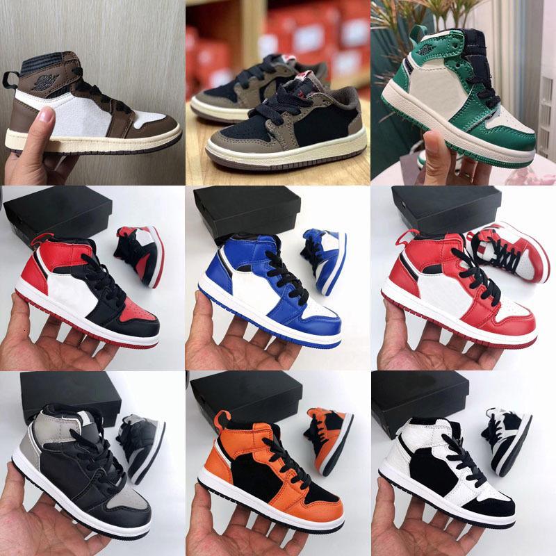 뜨거운 판매 Jumpman 1 초 키즈 레트로 트래비스 스콧 농구 신발 최고 품질 소년 소녀 아이들의 babys 여름 스포츠 신발 크기 28-35