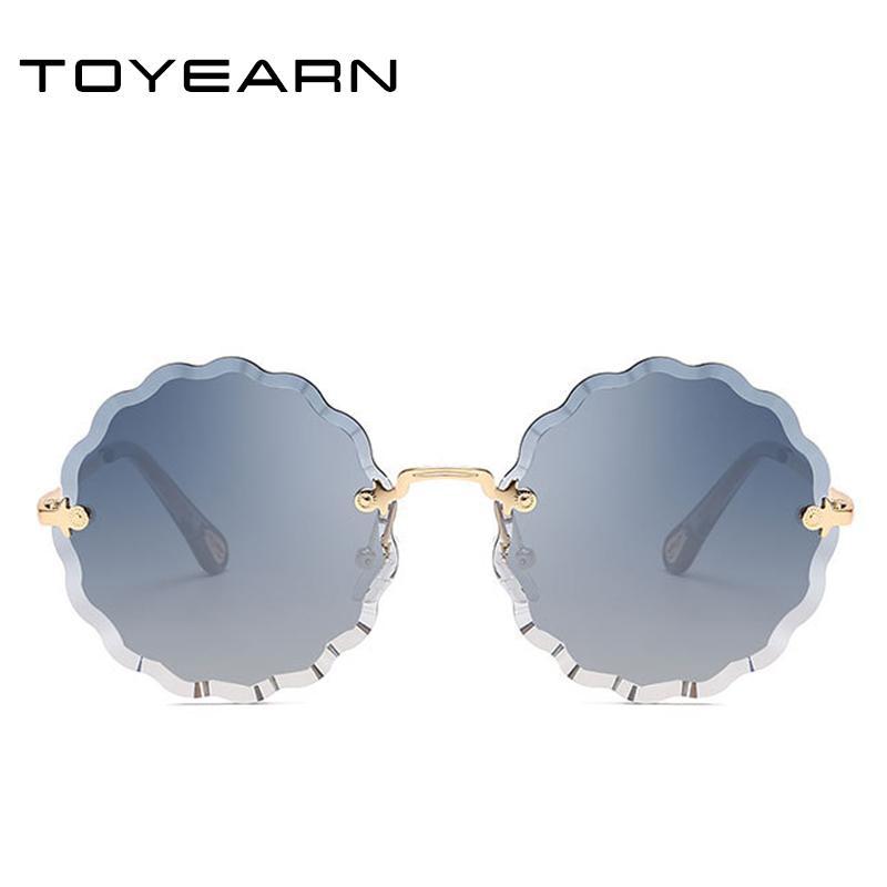 2020 señora del diseñador gafas de sol sin montura redonda Mujeres diamante de corte Forma de lentes flor de la vendimia Gafas de sol Mujer