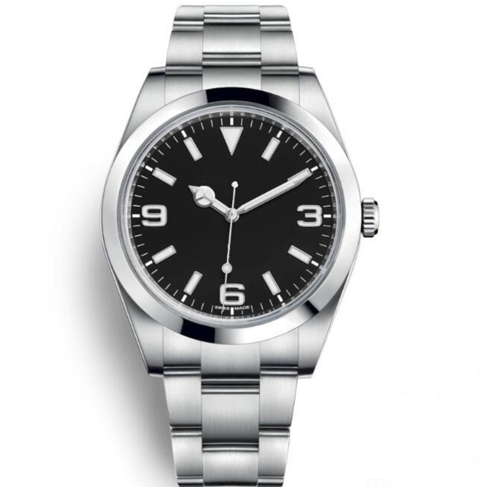 Top Luxury Watch Explorer Черный циферблат из нержавеющей стали Автоматические часы Повседневная дата Reloj De Lujo Montre Relojes De Marca Наручные часы