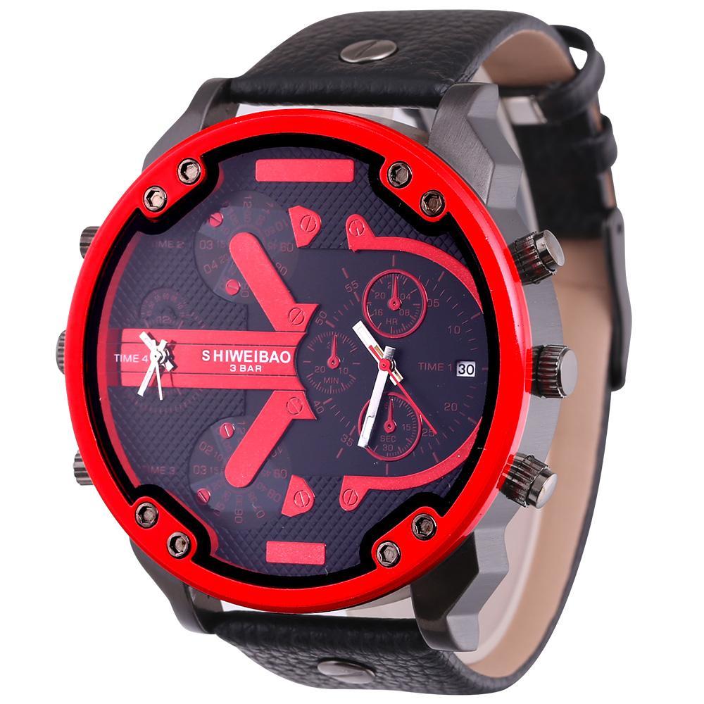 5.5 cm big face relógio de quartzo para homens dual times data relógios de pulso dos homens homem de couro preto relogio masculino à prova d 'água
