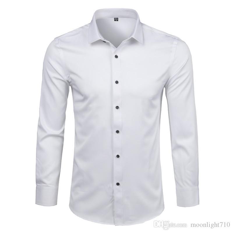 Compre Camisa De Vestir Para Hombre De Fibra De Bambú Nuevo Color Sólido Camisa Blanca De Manga Larga Hombre Casual Botón Elástico Abajo Camisa De