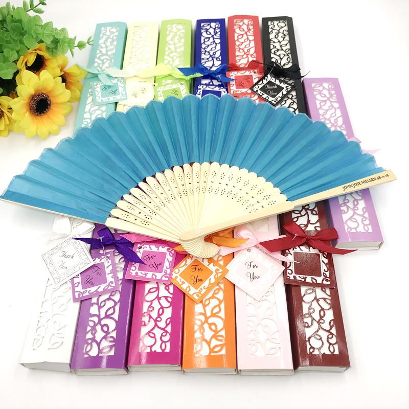 50PCS Mix Color Wedding Fan in Gift Box Custom Printing Name&Date Hand-made Foldable Bamboo Fans FREE SHIPPING