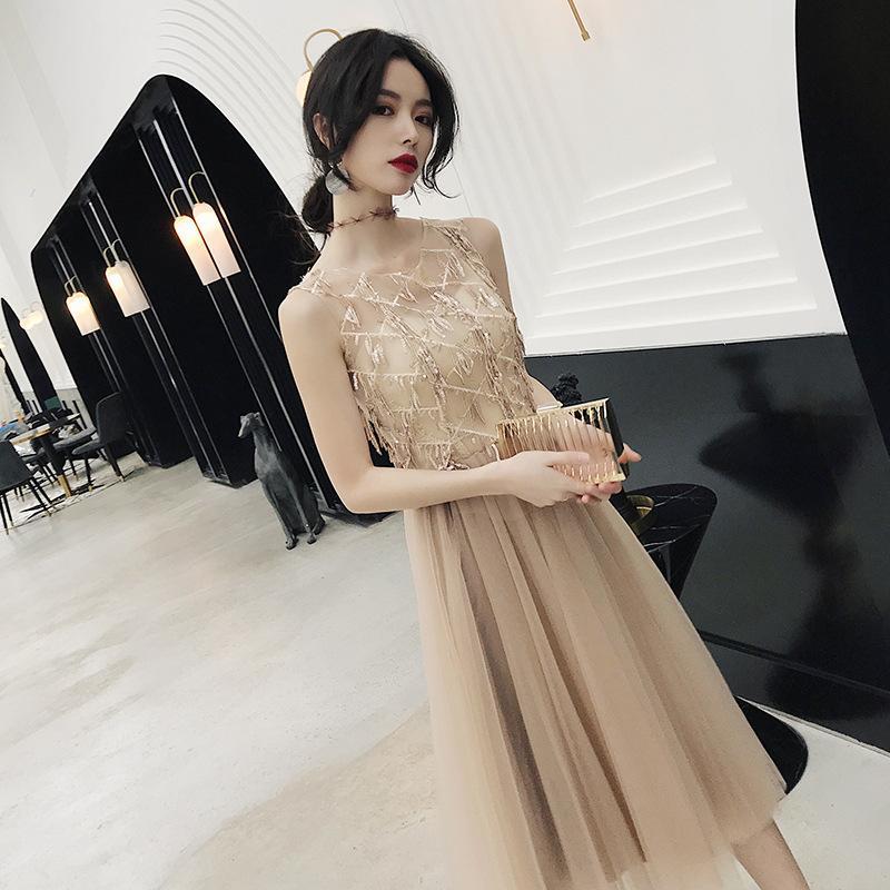kadın yeni moda 2020 altın payetler banket mizaç gösterisi ince zarif aristokrat elbise sonbahar ve kış elbise