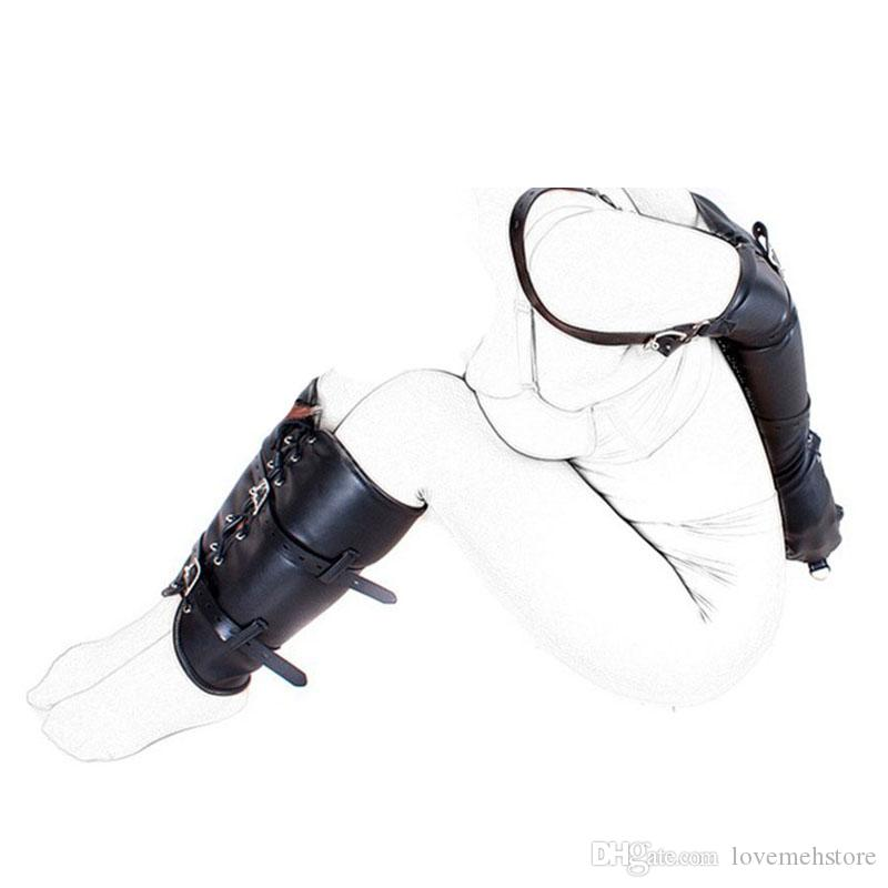 BDSM Bondage Restraints Role Play Hands Wrists Arms & legs binder Black Leather Tight Single Glove Adult Sex Toys Adult Costumes