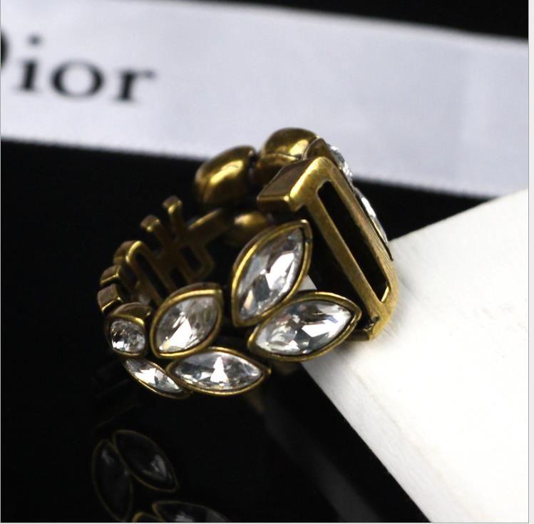 anillo de carta de cristal anillo de latón de las mujeres de la vendimia