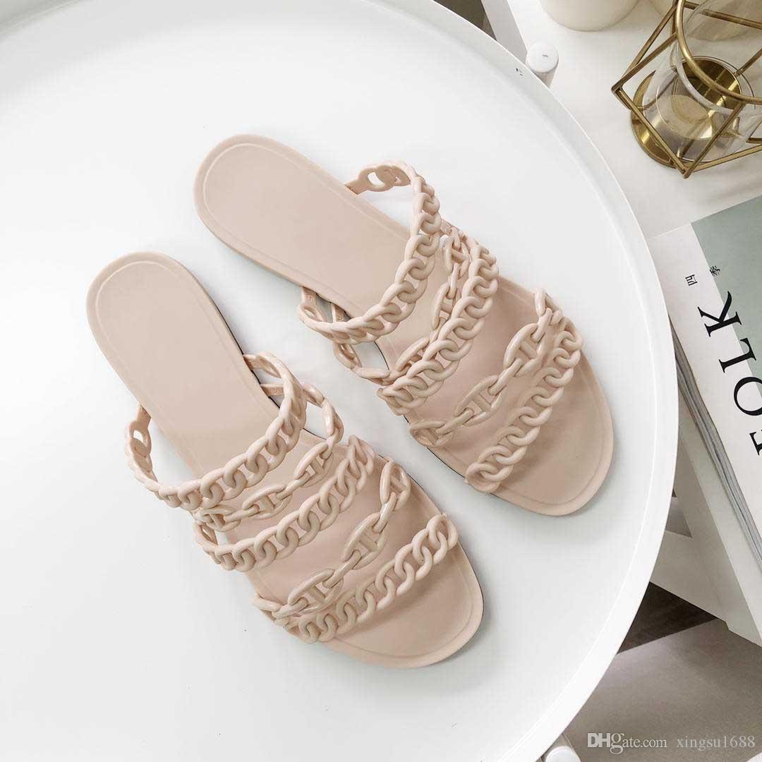 Spedizione gratuita! 2019 Pantofole di design di alta qualità di lusso Sandalo di gelatina di moda per donna Estate Casual Designer Infradito Scarpe piatte di sabbia