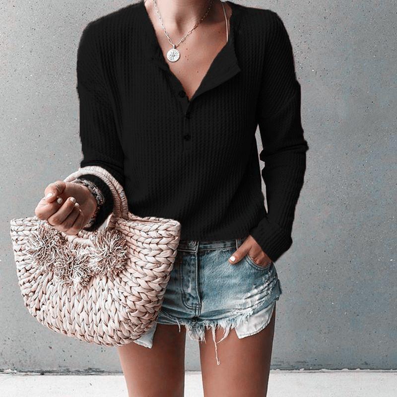 Yeni Moda Düğme V Yaka Uzun kollu kadın Bluz 2019 Sonbahar ve Kış aylarında Örme Gömlek