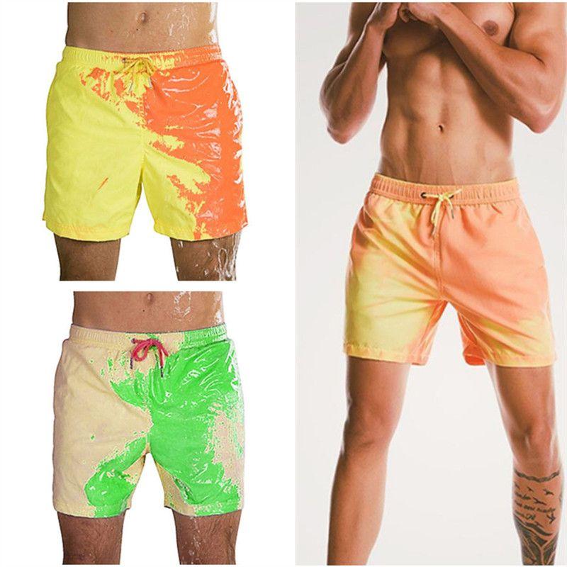 أزياء الرجال السروال بيتش تغيير لون ملابس جاف سريعة جذوع تلون شاطئ السراويل ذكر الصيف سباحة تشغيل السراويل 5 ألوان