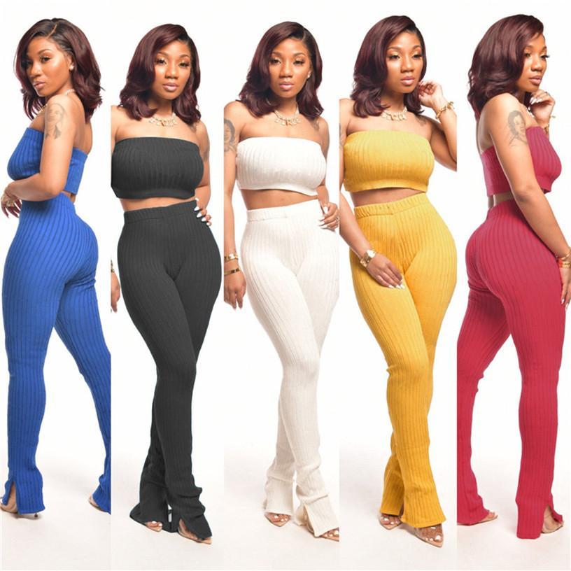Frauen Sommer 2 Stück Set Brust Wrap + Hosen Solide Farbe Kleidung Mode Bodycon S-2XL Sexy Kleidung 2763