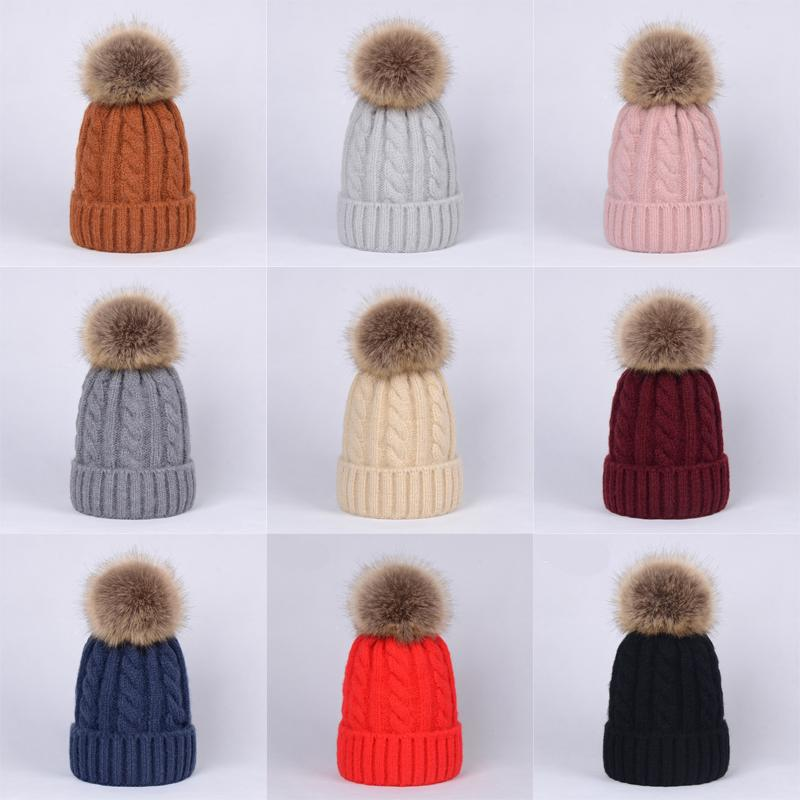 Baby Solid Knitted Pompon Hats 10+ Girls Boys Crochet Knitting Wool Bobble Winter Toddler Kids Designer Hats Fashion Pompon Ski Warm Hats
