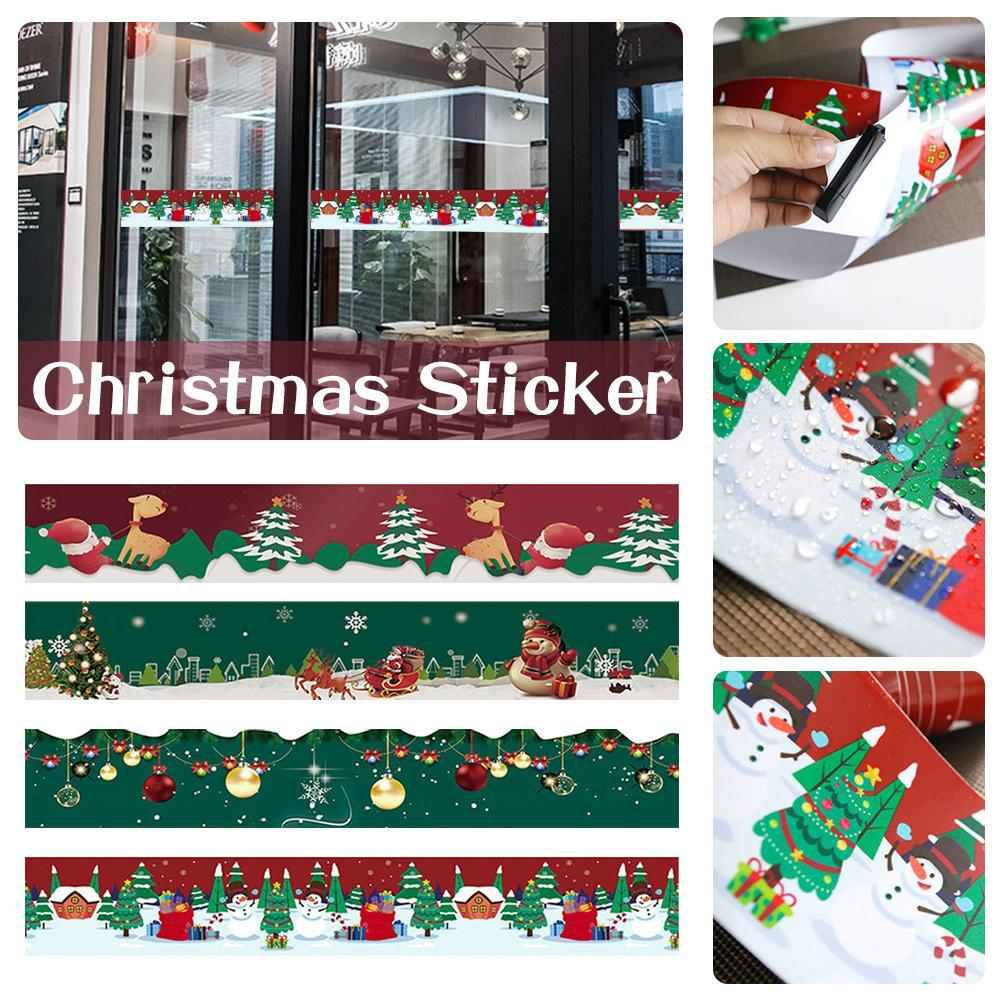 10x500cm Christmas Tile Sticker Self-adhesive Wall Paper Roll New Year Party DIY Mural Wall Window Sticker for Home Decorations