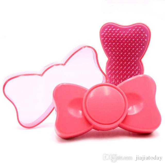 2019 Cute Hair Comb Portable Bow Shun Combs Anti Static Children Massage Plastic Comb Magic Detangling Handle Tangle Shower Women Hair Brush