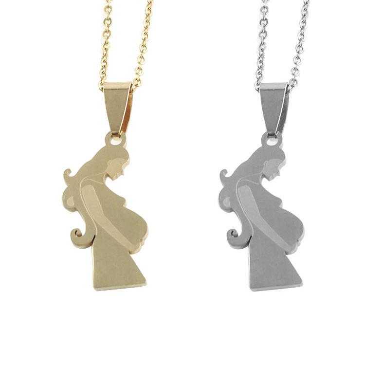 1pcs Gold Silver Color Family Baby Pregnant Mother Maternal Love Stainless Steel Women Girl Custom Pendant Necklace Jewelry Gift