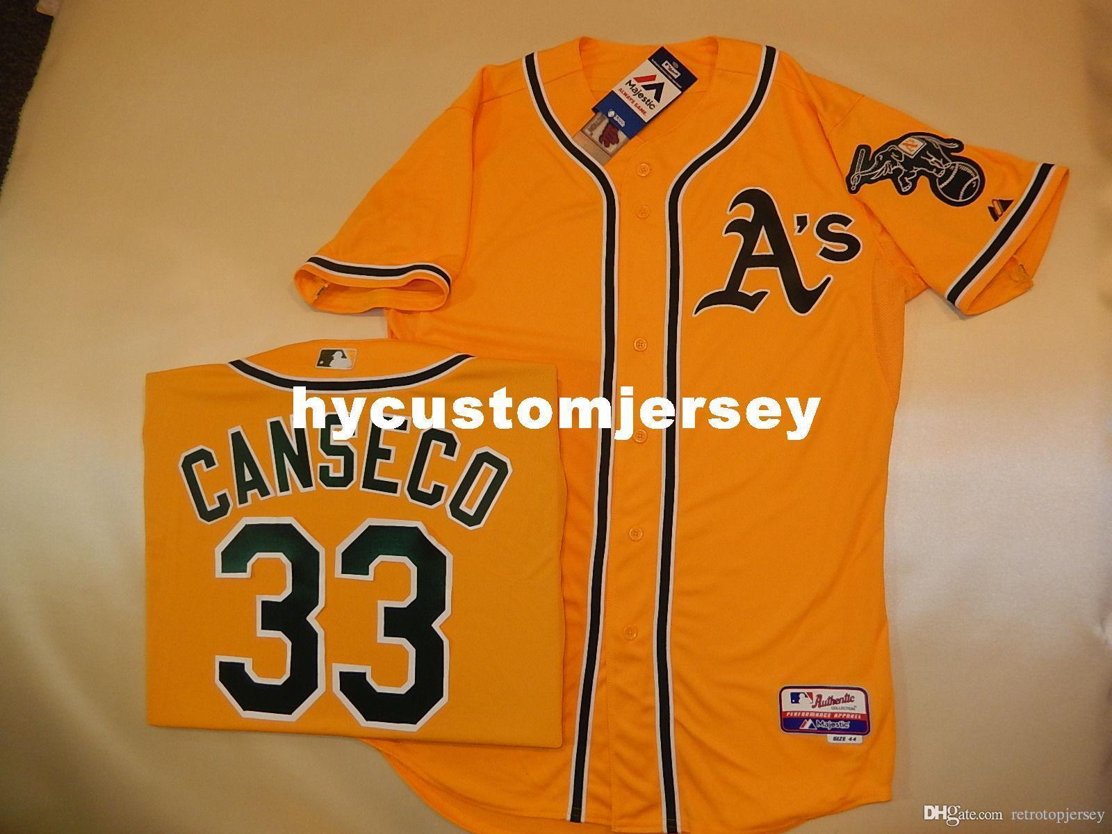 Oakland pas cher sur mesure MAJESTIC # 33 José Canseco Jeu Jersey GOLD nouveaux hommes maillots cousu Big and Tall TAILLE XS-6XL à vendre