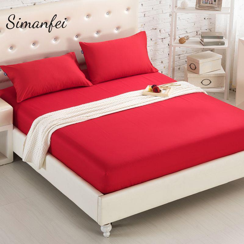 Simanfei Einfarbig Baumwolle Ausgestattet Bettlaken rutschfeste Baumwolle Tagesdecke Matratze Home Hotel Bettwäsche Blätter