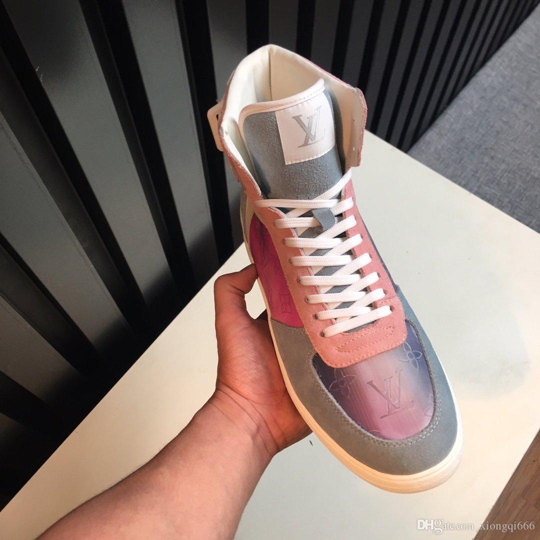 Chaussures de haute-top occasionnels de la mode des hommes d'été, sauvages confortables chaussures haut-dessus, cuir imprimé, avec boxAA