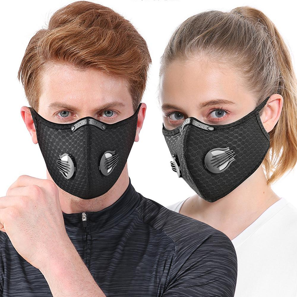 새로운 사이클링 마스크 호흡 밸브 호흡기 야외 스포츠 마스크 PM2.5 방진 오염 마스크 활성탄 필터 DHL
