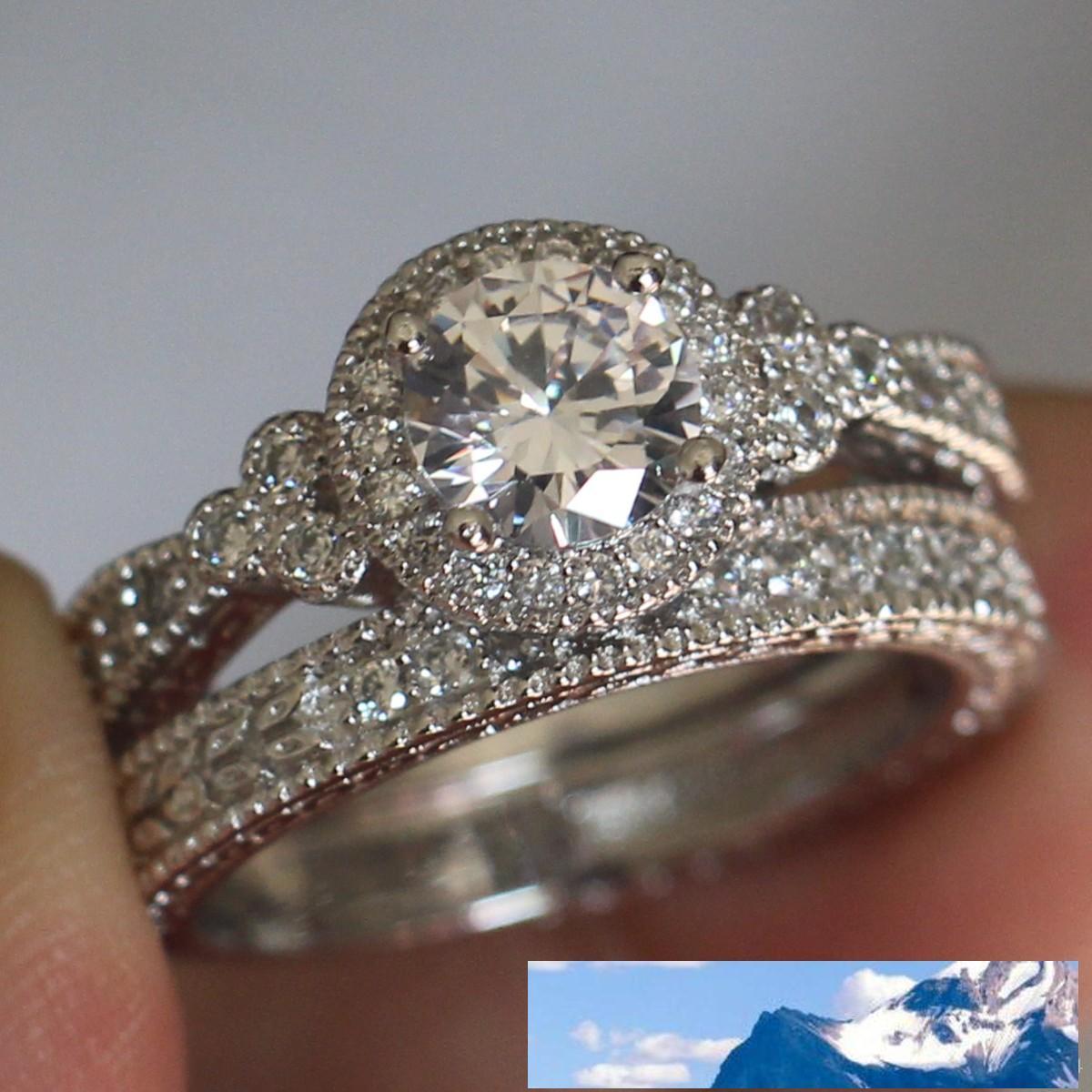 مجوهرات الساخن 925 فضة جولة قص توباز مقلد خاتم الماس الزفاف المرأة الزفاف مجموعة لمحبي هدية عيد الميلاد