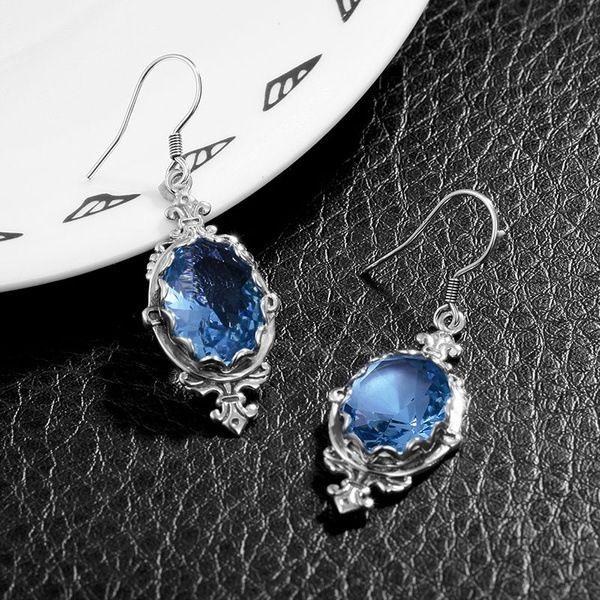 حمض الأزرق حجر الراين مصمم أقراط فضية طويلة انخفاض القرط للنساء خمر مجوهرات الزفاف الزفاف هدية عيد لصديق