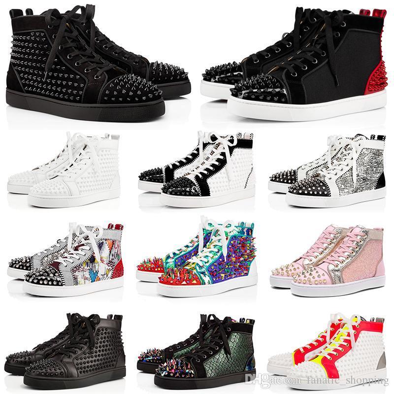2020 NUOVI mens parti inferiori rosse scarpe firmate picco pelle scamosciata degli uomini di cuoio donne scarpe casual amanti dello schermo piatto di lusso della moda partito scarpe da ginnastica 36-47 con BOX