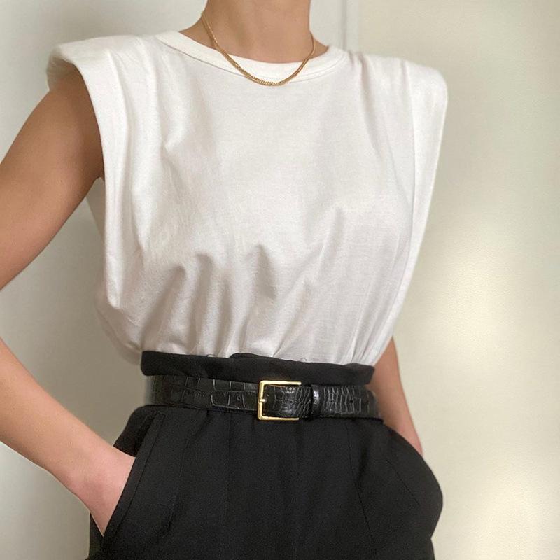 Senza maniche maglietta del O-collo casuale maglietta spalla del C5281 estate delle donne Pad Lady Fashion magliette